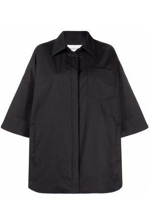 VALENTINO Leather-trim poplin overshirt