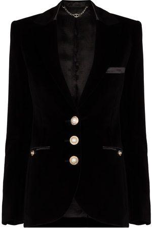 Paco Rabanne Single-breasted velvet blazer