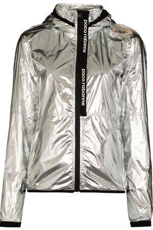 Paco Rabanne Metallic-finish zip-up track jacket
