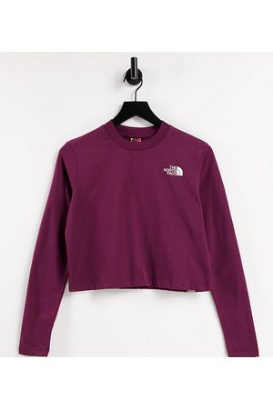 The North Face Cropped long sleeve t-shirt in burgundy Exclusive at ASOS-Red
