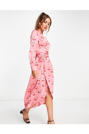 Never Fully Dressed Plus Wrap midi dress in pink cherry print