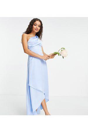 TFNC Damen Asymmetrische Kleider - Bridesmaid one shoulder maxi dress in light blue