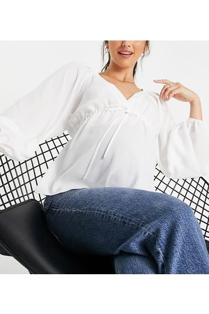 ASOS ASOS DESIGN Maternity long sleeve v neck top with kimono sleeve and tie front in ivory-White