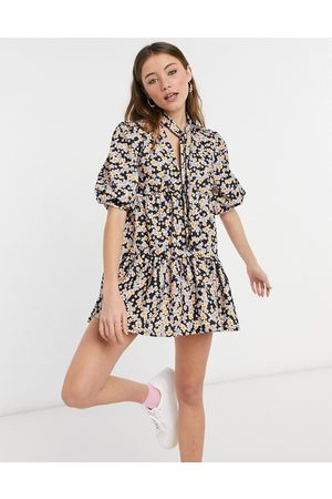 ASOS Textured tiered mini dress in purple and orange floral print