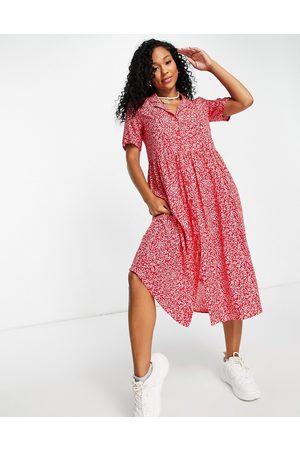 Monki Mattan ecovero viscose midi shirt dress in red floral print