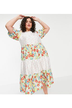 HOPE & IVY Exclusive midi dress with lace panels in spring rose print-Multi