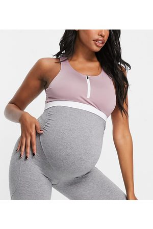 Love & Other Things Maternity gym co-ord contrast zip front sports bra in mauve & white-Purple