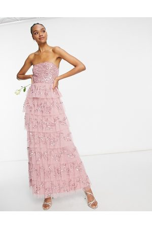 Maya Bandeau all over embellished tiered maxi dress in taupe blush-Pink