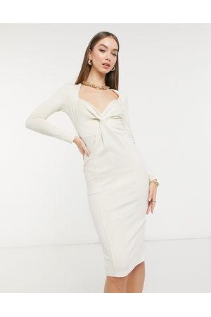 ASOS ASOS DESIGN Curve rib crop overlay midi pencil dress in grey