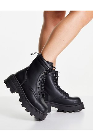 Topshop Chunky biker boots in black