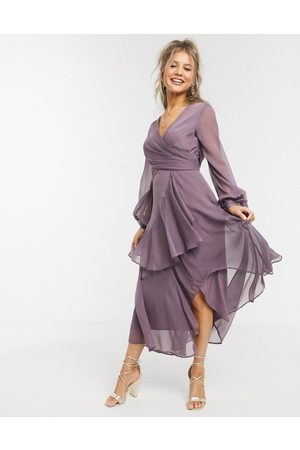 ASOS Wrap waist midi dress with double layer skirt and long sleeve in mauve