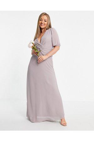 TFNC Bridesmaid wrap front maxi dress in light grey