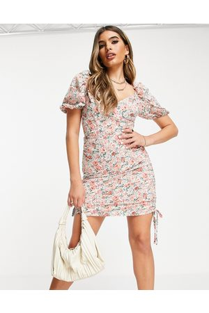 Saint Genies Ruched side detail dress in floral print-Multi