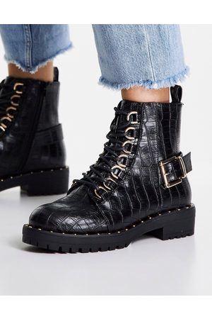 ASOS Damen Schnürstiefel - Wide Fit Rylee square toe lace up boots in black