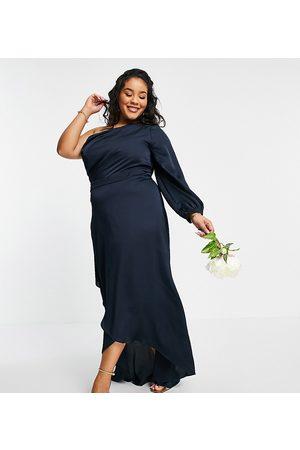 TFNC Bridesmaid satin one shoulder long sleeve maxi dress in mink-Pink