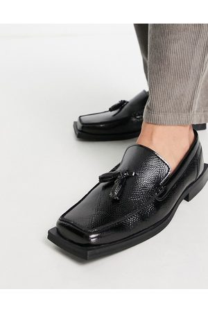 ASOS ASOS DEISGN angled square toe loafer in black faux leather
