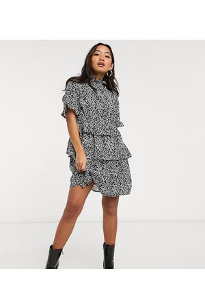 Influence Influence Petite high neck tiered mini dress in ditsy floral print