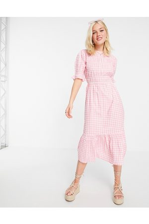 Influence Midi dress in pink gingham