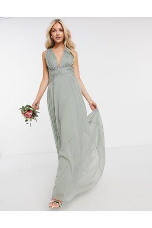 ASOS ASOS DESIGN Petite Bridesmaid ruched bodice drape maxi dress with wrap waist-Pink