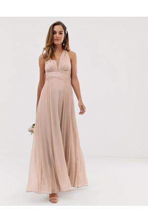 ASOS Damen Lange Kleider - Bridesmaid ruched bodice drape maxi dress with wrap waist