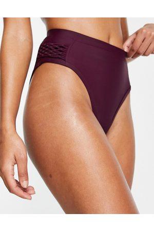 ASOS Swim bikini macrame bikini bottom-Red