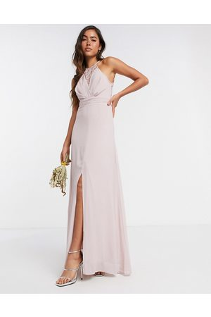 TFNC Damen Lange Kleider - Bridesmaid wrap lace maxi dress in