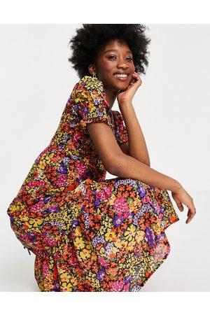Influence Tie cross back midi dress in floral print-Multi