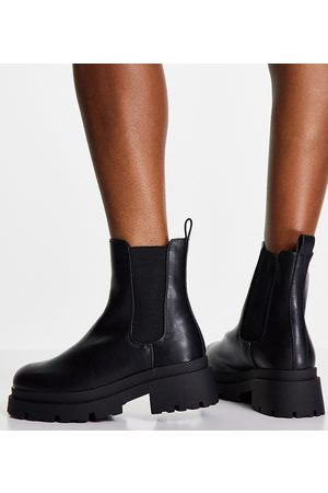 ASOS Wide Fit Archer chunky chelsea boots in black