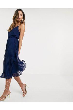 ASOS Damen Midikleider - Pleated cami midi dress with drawstring waist in