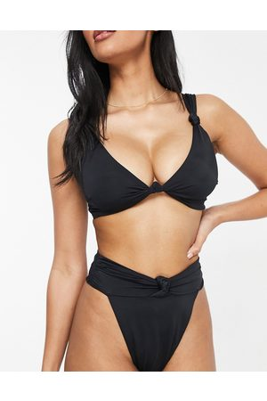 ASOS ASOS DESIGN curve recycled mix and match square neck crop bikini top in black
