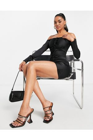 NaaNaa Satin ruched front dress in black