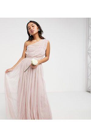 ANAYA Anaya With Love Petite Bridesmaid tulle one shoulder maxi dress in