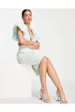 ASOS ASOS DESIGN Curve puff sleeve plunge elasticated smock mini skater dress in