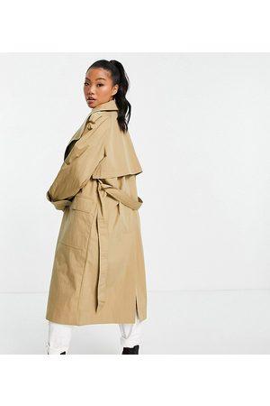 ASOS ASOS DESIGN Petite collared luxe trench coat in stone-Brown