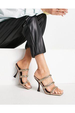 ASOS Hazel premium leather block heeled mules in snake-Multi