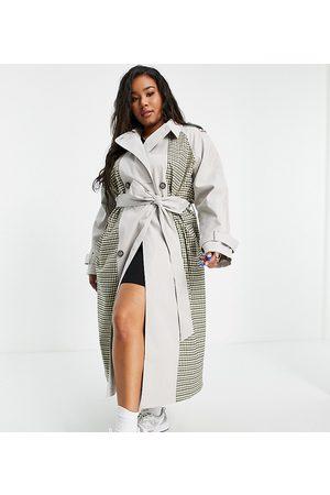 ASOS Damen Trenchcoats - ASOS DESIGN Curve spliced check trench coat-Green