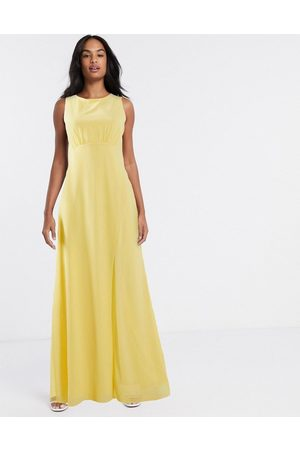 TFNC Bridesmaid cowl back maxi dress in pink