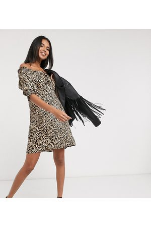 Wednesday's Girl Mini dress with puff sleeves in leopard print