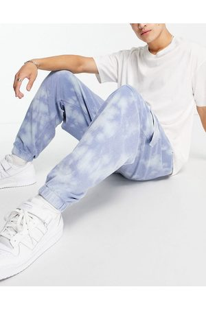ASOS Co-ord tapered towelling cargo joggers in wash-Blue