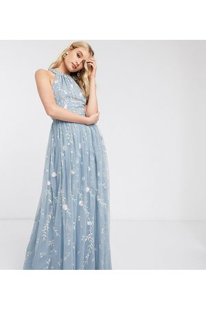 ASOS ASOS DESIGN Maternity halter neck pretty embroidered floral and sequin mesh maxi dress-Multi