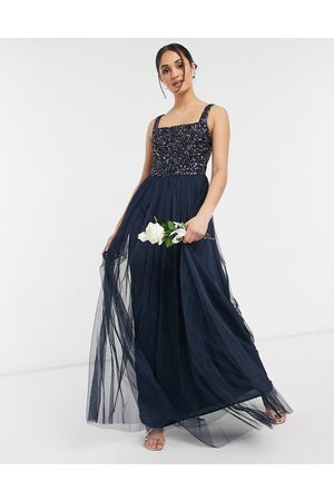 Maya Bridesmaid sleeveless square neck maxi tulle dress with tonal delicate sequin overlay in