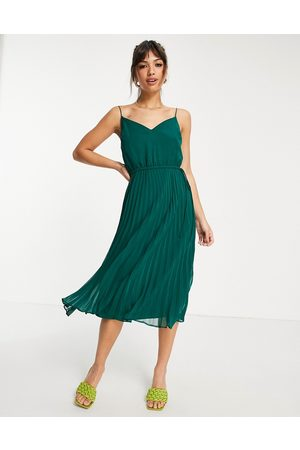ASOS DESIGN Pleated cami midi dress with drawstring waist in forest