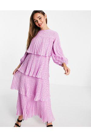 ASOS Tiered pleated maxi dress in polka dot print-Multi