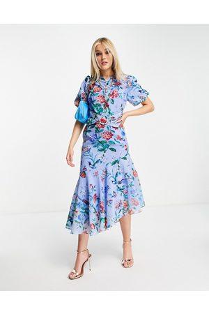 HOPE & IVY Puff sleeve asymmetric belted midi dress in bright blue poppy print