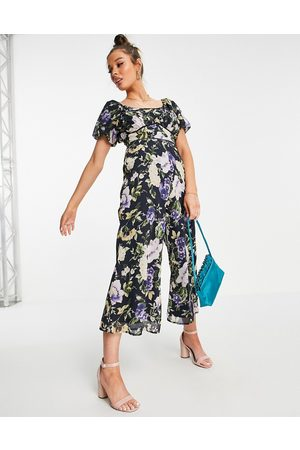 HOPE & IVY Puff sleeve wide leg jumpsuit in navy based floral