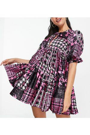 John Zack Exclusive puff sleeve midi dress in leopard print-Multi