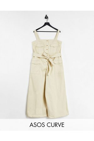 ASOS Curve contrast stitch button front dungaree jumpsuit in stone-Neutral