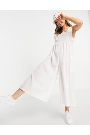ASOS ASOS DESIGN maternity broderie trim jumpsuit in black