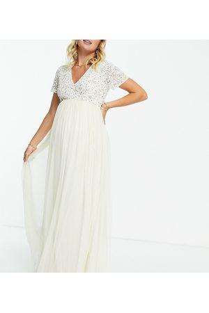 Maya Damen Lange Kleider - Bridesmaid v neck maxi tulle dress with tonal delicate sequin in navy