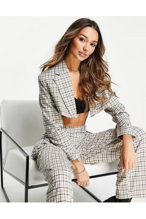 Topshop Crop blazer in check print-Multi